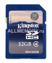 Карта памяти 32GB Secure Digital Card, High Capacity (SDHC) Class 4, Kingston